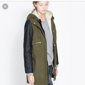 ZARA | Green Military Jacket Black Quilted Sleeves